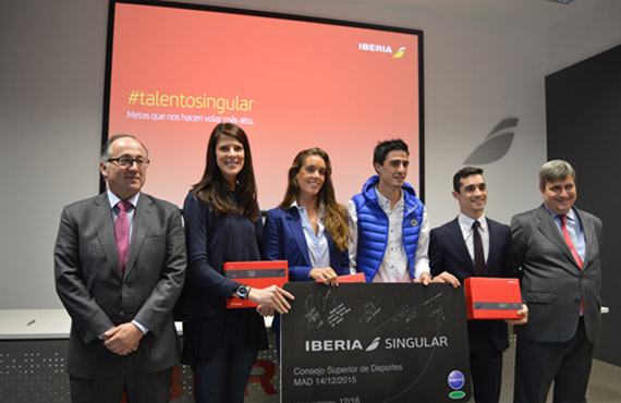 From left to right: Luis Gallego, Ruth Beitia, Ona Carbonell, Joel González, Javier Fernández and Miguel Cardenal